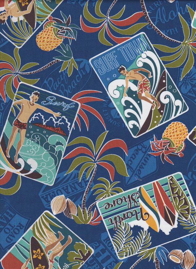 HAWAII SURFEN Stoff Nr. 140930 - 1 Fat Quarter