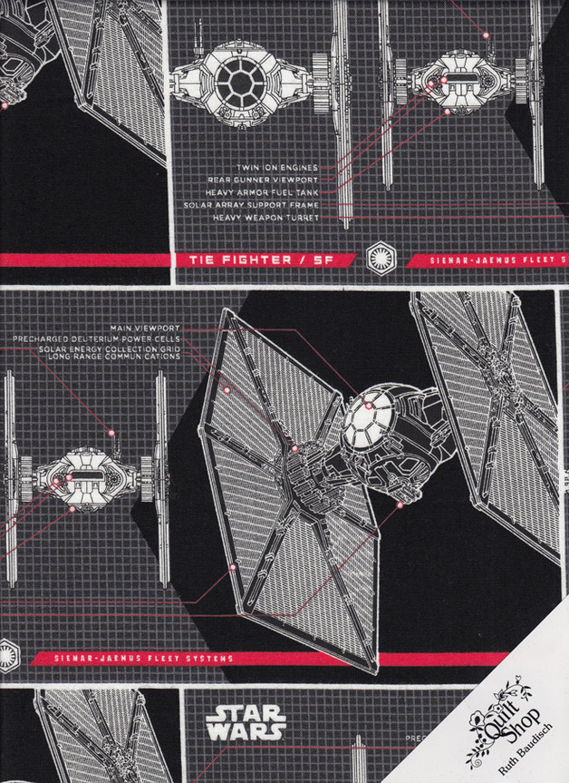 "STAR WARS "" TIE FIGHTER "" Stoff Nr.171209 - 0.5 m"