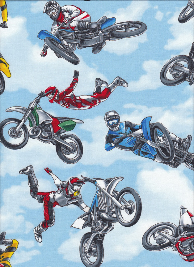 MOTORCYCLE BIKE STUNTS Stoff Nr. 170106 - 1 Fat Quarter