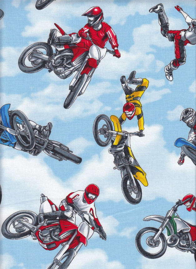 MOTORCYCLE BIKE STUNTS Stoff Nr. 170106 - 1 Fat Quarter