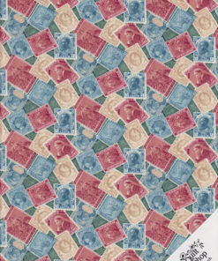 BRIEFMARKEN Stoff Nr. 171220 - 1 Fat Quarter
