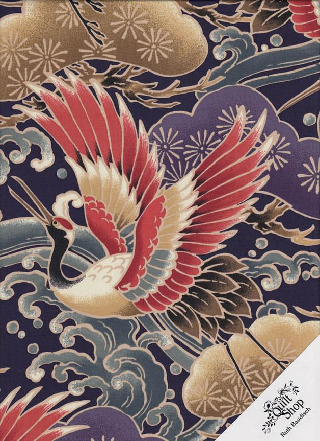 KRANICHE JAPAN Stoff Nr. 171025 - 1 m